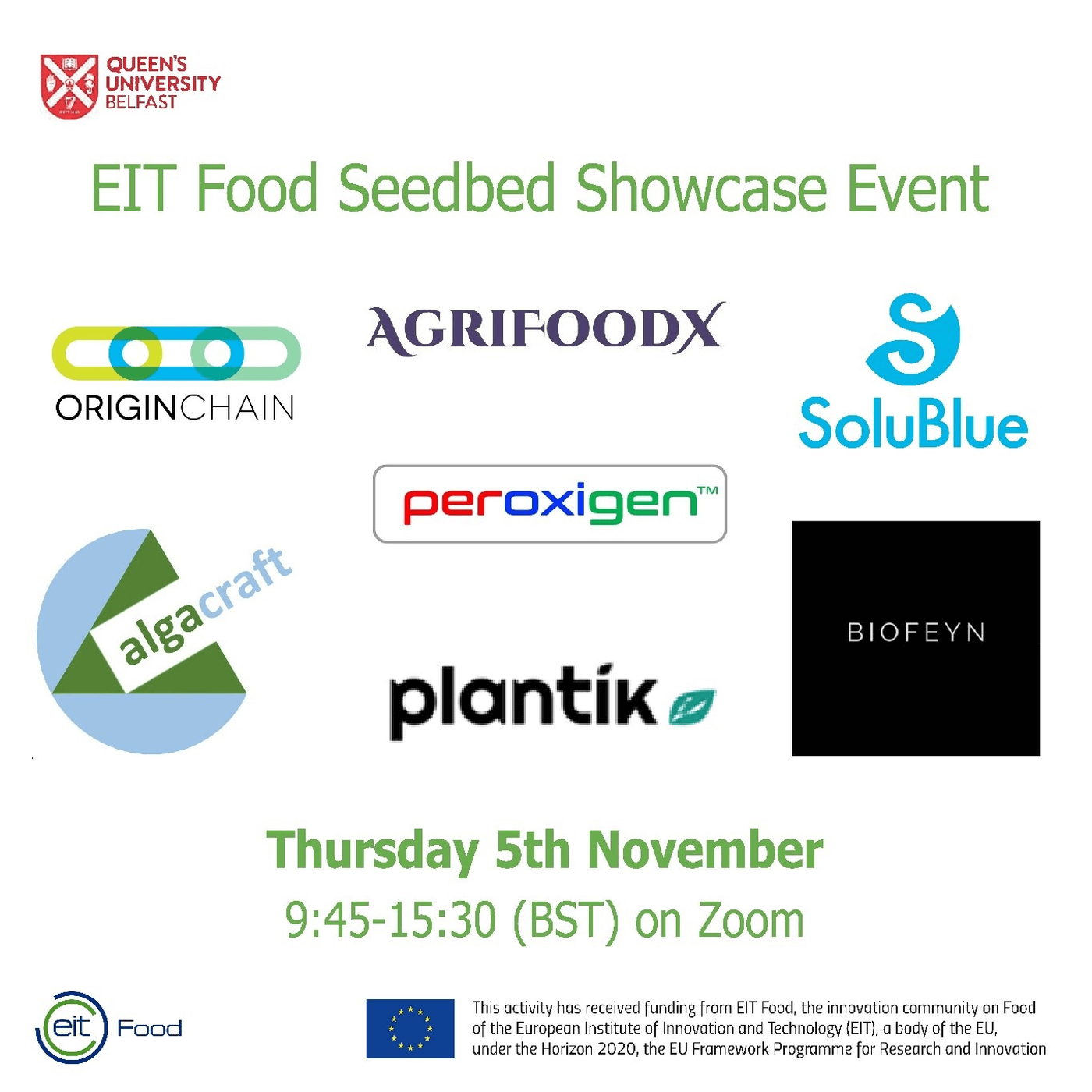 EIT Food Seedbed Showcase Event at Queen's University Belfast